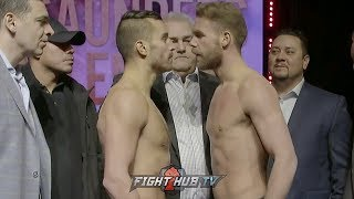 FACE TO FACE! BJ SAUNDERS VS DAVID LEMIEUX - FULL WEIGH & FACE OFF VIDEO