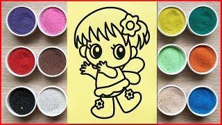 Angel sand painting | 10 kinds of colored sand painting | Đồ chơi trẻ em tô màu tranh cát Chim Xinh