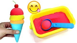 Kinetic Sand Ice Cream Making with Velcro Fruits & How to Make Play Doh Hamburger and Fries
