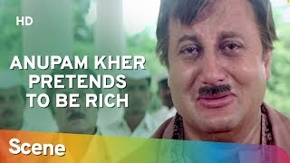 Anupam Kher Gives Money To The Poor | Dil (1990) Comedy Scene | Hit Hindi Movie