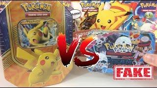 Pokemon Cards - REAL Pokemon Tin VS FAKE Pokemon TIn!!