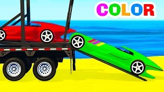 COLOR SPORT CARS Transportation for Children in Spiderman Cartoon w Colors for Kids Nursery Rhymes