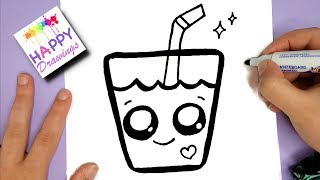 HOW TO DRAW A SUPER CUTE DRINK - KAWAII HAPPY DRAWINGS
