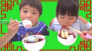 グミひもラーメン お菓子トッピングしてできあがり!!! こうくんねみちゃん