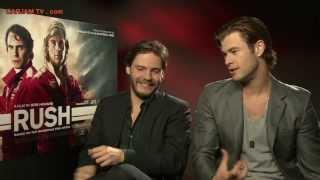 Chris Hemsworth Sexy Funny Interview Daniel Bruhl RUSH Movie 2013 Niki Lauda Carjam TV HD