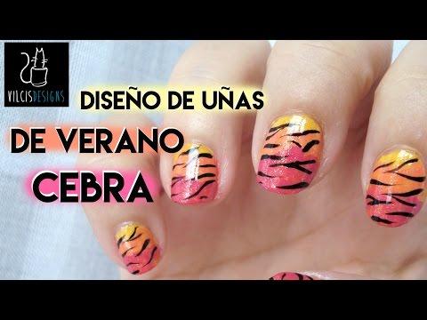 Diseño uñas verano cebra y puesta de sol Summery nail design zebra at twilight