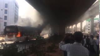 Bengaluru garment workers' protest: Bus set on fire at Jalahalli Cross
