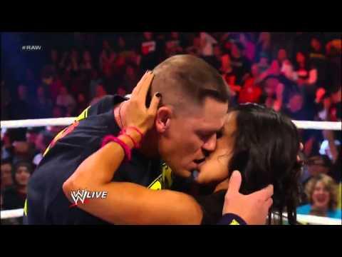 John Cena and AJ Lee Kiss WWE Raw 11 19 12