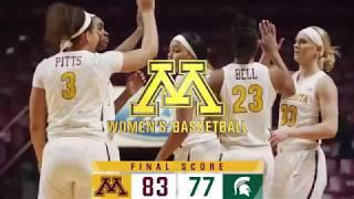 Highlights: Gopher Women's Basketball Defeats Michigan State 83-77
