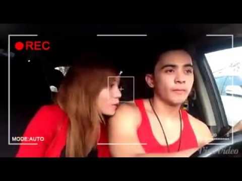 Romantic couples in car