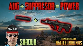 AUG + SUPPRESSOR - Shroud win solo FPP game - PUBG HIGHLIGHTS TOP 1