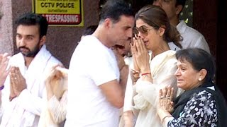 Emotional Shilpa Shetty CRYING At Father's Last Rights Ceremony Full Video HD - Akshay Kumar