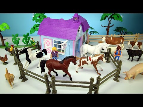 Xxx Mp4 Horse Stable Barn And Farm Animal Toys For Kids Learn Animals Names Video 3gp Sex