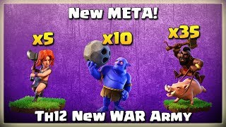 New META!= 35 Hogs+ 10 Bowler+ 5 Valk | After JUNE Update | TH12 War Strategy #10 | COC 2018 |
