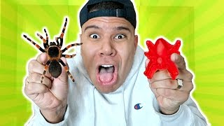 GUMMY FOOD vs. REAL FOOD CHALLENGE!! (EATING LIVE SPIDERS) GIANT GUMMY FOOD