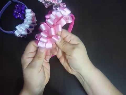 como hacer un moño en cinta gros para decorar diademas No.85 Manualidades la Hormiga