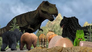 Giant Dinosaurs Attack Zoo Animals Lion Tiger Gorilla Bear In Jungle Cartoon Animation Short Movie