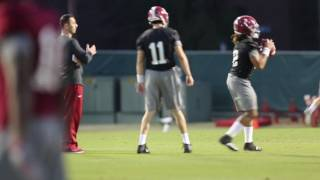 Alabama football practices with Steve Sarkisian