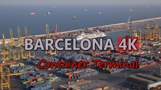 Ultra HD 4K Barcelona Travel Container Terminal Tourism Port Harbour Aerial View Video Stock Footage
