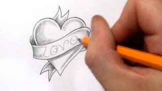Heart and Banner Tattoo Design With Love - Quick Sketch