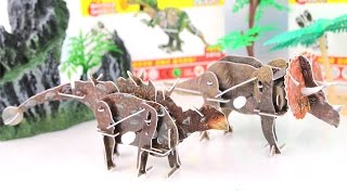 Dinosaurs Walking 3D Puzzle Toys. DIY Ankylosaurus Triceratops  Learn names of Dinosaur For Kids.