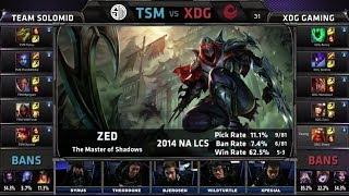 TSM vs XDG | 2014 NA LCS Spring split S4 W9D1 G1 | XDG vs TSM Week 9 Day 1 full game HD