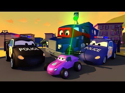 Carl o Super Caminhão e o caminhão da POLICIA na Cidade do Carro | Desenho animado para crianças