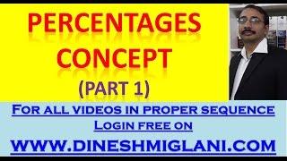 Percentages Concept (Part 1) by Dinesh Miglani