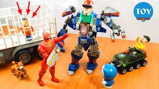 Doremon và Nobita giải cứu Chaien bị nhốt Robot khổng lồ của Xeko   Doraemon Toy for kids đồ chơi tr