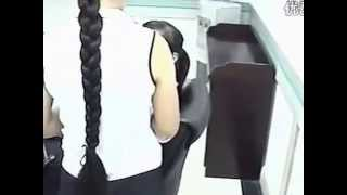 Cut long braid in office