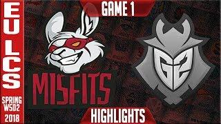 MF vs G2 Highlights | EU LCS Week 5 Spring 2018 W5D2 | Misfits vs G2 Esports Highlights