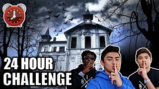24 HOUR OVERNIGHT CHALLENGE IN HAUNTED HOUSE!!