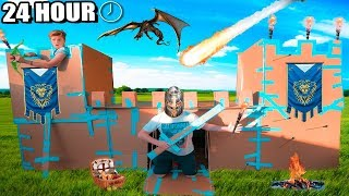 24 HOUR CASTLE BOX FORT CHALLENGE!! 📦🏰 Sword Fighting, Archery & More!!!