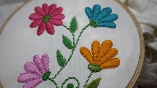 Hand Embroidery Designs | Satin stitch | Stitch and Flower-128