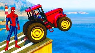 Divertidos tractores y colores camiones coches spiderman canciones dibujos animados para niños