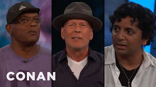Samuel L. Jackson, Bruce Willis, & M. Night Shyamalan's Origin Story  - CONAN on TBS
