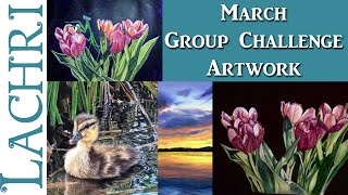 March 2017 Group Art Challenge paintings & drawings! - Lachri