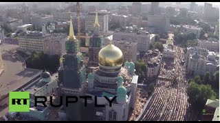 Russia: Drone captures massive Eid al-Fitr celebrations in Moscow