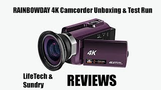 RAINBOWDAY 4K Camcorder Unboxing and Test Run