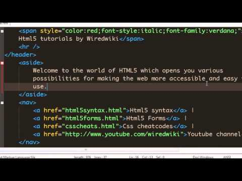 Html 5 tutorial - 11 - Using aside element.mp4