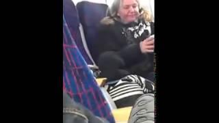En dame går helt amok i toget