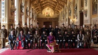HM The Queen (92) Presents New Standard At Windsor Castle St George's Hall