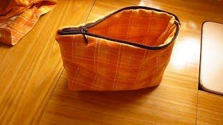 طريقة خياطة مقلمة وشنطةللمكياج سهلة وسريعة Sew an easy cosmetics bag