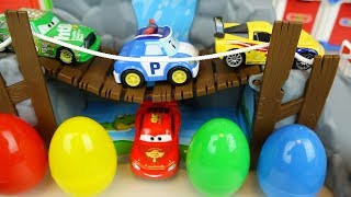 Poli cars road play car toys and surprise eggs play