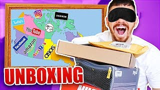 *UNBOXING* Throwing a Dart at a Map and BUYING Whatever it Lands on! ($1,000 CHALLENGE WISH, AMAZON)