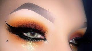 Sexy Arabic Warm Tones  Smoky Eye with Gold Glitter - Makeup Tutorial