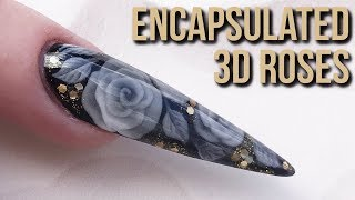 Encapsulated 3D Acrylic Roses - Extreme Stiletto Sculpted Nail Design