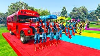 LEARN NUMBERS for kids 4x Superhero school bus and Golf Cars cartoon for baby Nursery rhymes