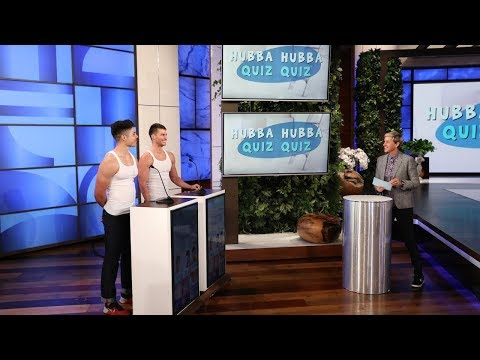 Ellen's Hunks Show Off Their Uvula and Coccyx in 'Hubba Hubba Quiz Quiz'