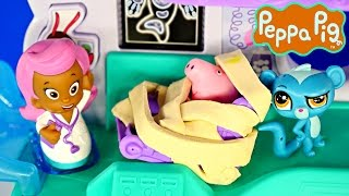 Peppa Pig Doctor Visit at Bubble Guppies Hospital Episode Play Doh Toys Plastilina Juguetes